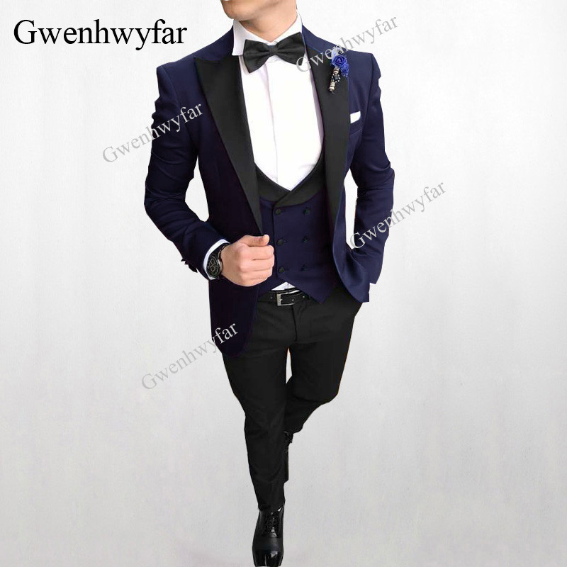 Gwenhwyfar 2018 Dark Navy Bruidegom Tuxedos Custume Homme Terno Blazer Peak Revers Single Breasted Tuxedo Blazer Mannen Wedding Suits-in Pakken van Mannenkleding op  Groep 1