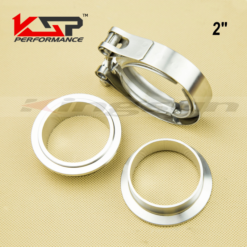 Kingsun 2'' sus 304 Stainless Steel V Band Clamp With Male And Female Flanges Kit Professional For Turbo/Exhaust Downpipes kingsun front camber caster coilovers alignment kit plate for ford mustang 79 89 adjustable steel