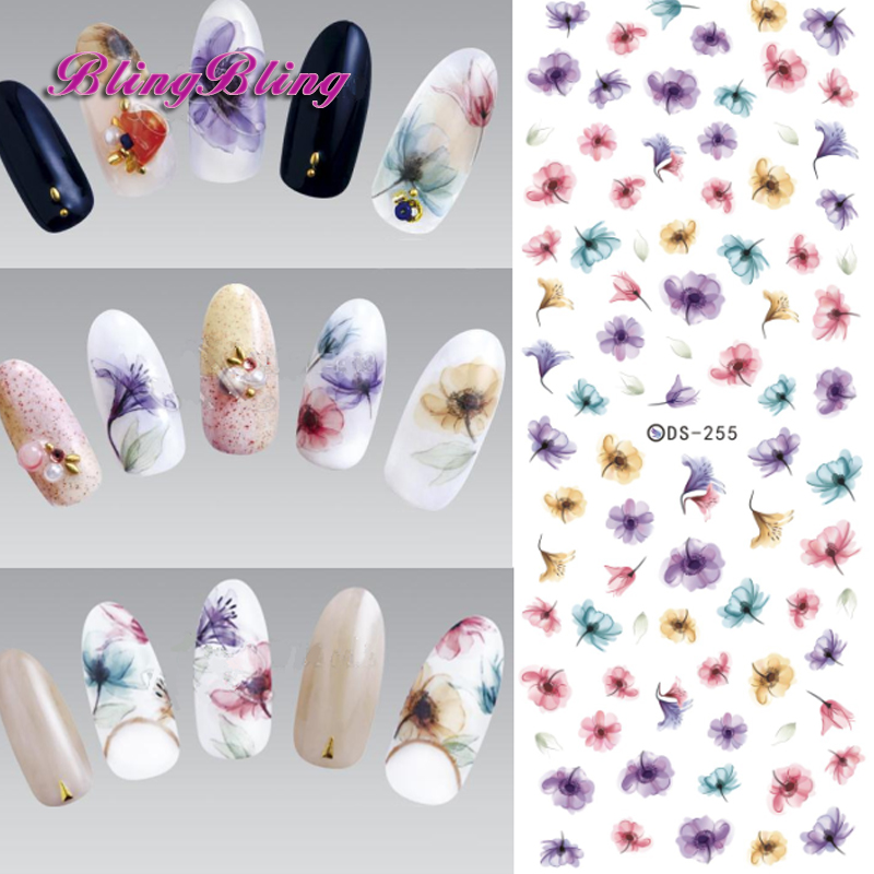 Blingbling 2pcs Gradient Nail Sticker Fantasy Flower Sticker Decals Water Tranfer Nail Art Manicure Accessories For Nails nail clipper cuticle nipper cutter stainless steel pedicure manicure scissor nail tool for trim dead skin cuticle