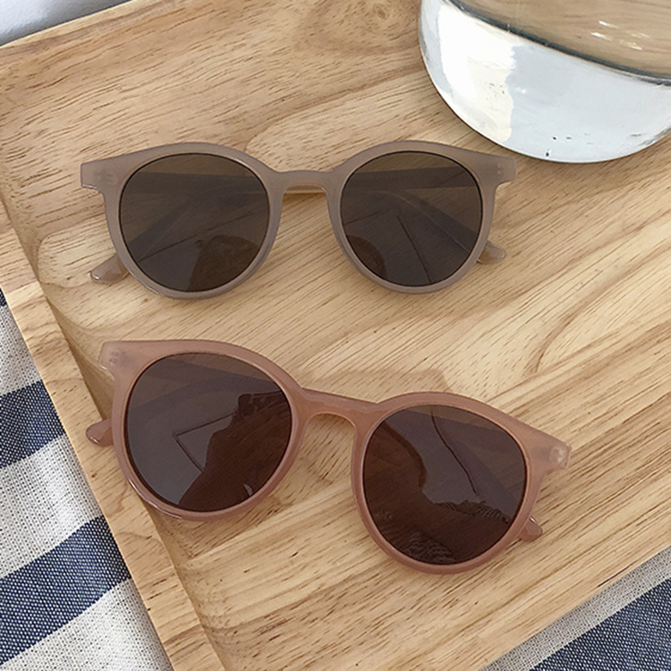 New Retro Small Round Frame Sunglasses Trend Milk Tea Color UV Protection Eye Small Glasses