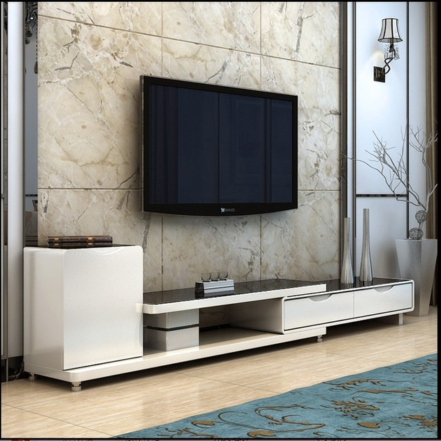 Tempered Gl Tv Cabinet Minimalist Modern Portfolio Stylish Living Room Environment Retractable Cabinets