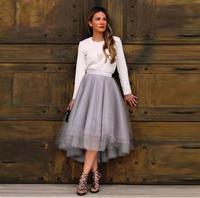 New Arrival Szary Tulle Skirt Smooth Satin Talii Wysokiej talii Spódnica Warstwowych Warstwami Asymetryczne Spódnice Kobiety Na Co Dzień