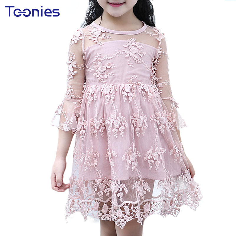 Hot Sale Girls Dress 2017 New Fashion Baby Girl Dresses Lovely Princess Lace Dress Children Floral Pattern Clothing High Quality high quality girls baby bright leaf long sleeve lace dress princess bud silk dresses children s clothing wholesale