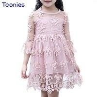 Hot Sale Girls Dress 2017 New Fashion Baby Girl Dresses Lovely Princess Lace Dress Children Floral