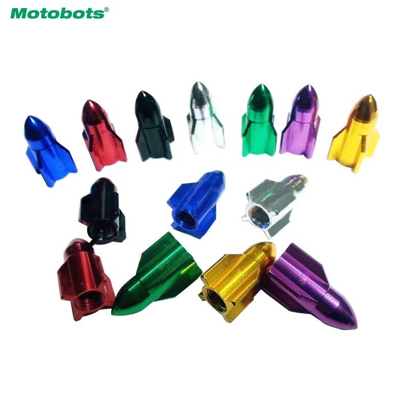 MOTOBOTS 4pcs Missile Models Color Aluminum Valve Caps Gas Leak Tire Caps For Car Decoration Red/Purple/Golden/Silver/Green/Blue