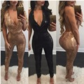 2017 Fashion Gold Sequined Elegant Jumpsuit Romper Sexy Deep V Neck Halter Sleeveless Playsuit Women Bodycon Overalls