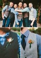 Rustic Wedding Mens Vests Outerwear Tweed Groomsmens Vests Bespoke Slim Fit Mens V Neck Vests Evening Prom men's vest waistcoat