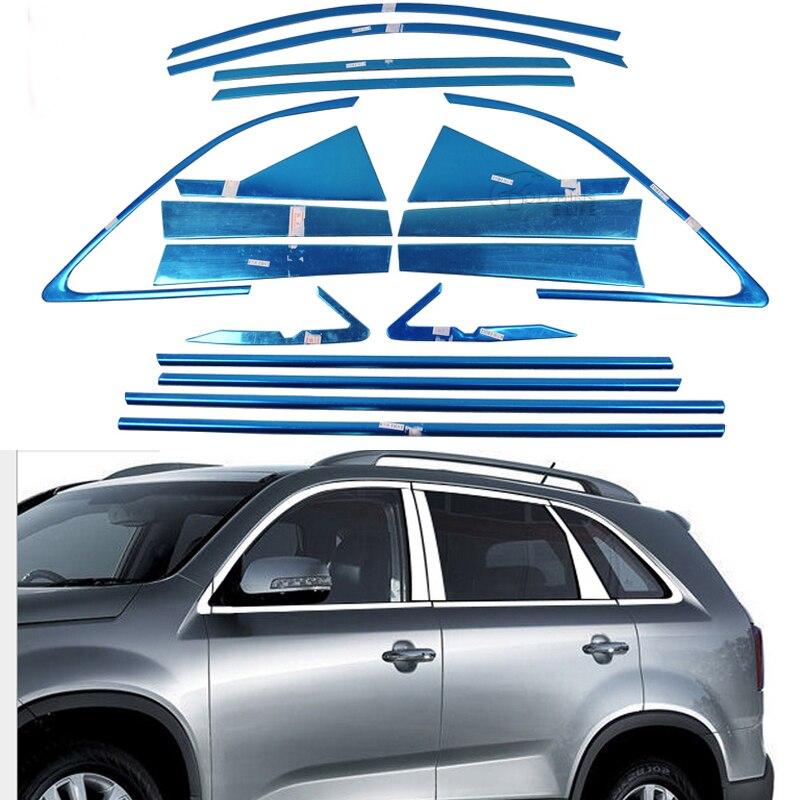 Pour Kia Sorento 2009 2010 2011 2012 2013 2014 en acier inoxydable pleine fenêtre garniture décoration porte bandes voiture style fenêtres couverture