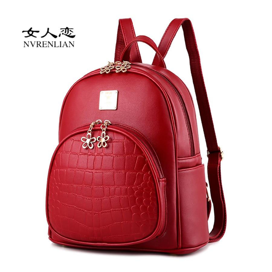 NVRENLIAN Woman Backpacks Women s PU Leather Backpack Female Embossed School Student Bag College Shoulder Bags