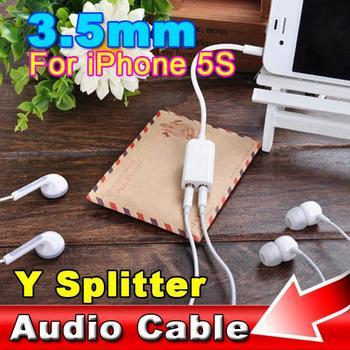 2015 мужчин и женщин джек 3.5 мм аудио кабелей сплиттер адаптер двумя мини-штекер стерео наушники наушники для iphone5s S5 S6