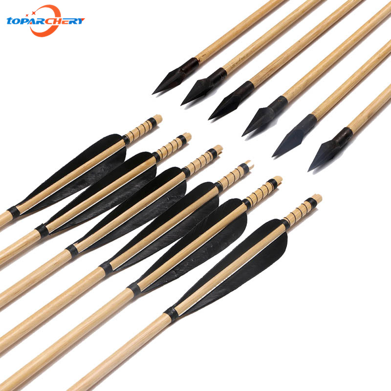 6pcs Wooden Arrows with 5 Real Feather & Steel Broadheads Points for Traditional Recurve Bow Outdoor Target Hunting Shooting