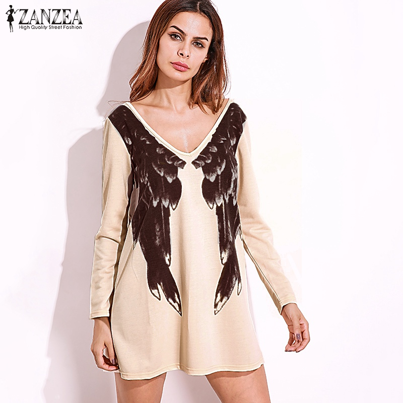 c60f8c66db ZANZEA Women Dress Vestidos Sexy Long Sleeve Deep V Neck Front Back Wings  Print Long Tops Casual Pullovers Dress Plus Size-in Dresses from Women s  Clothing ...