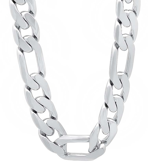 16inch- 26inch 12mm MEN Figaro Chains Necklaces , High Quality / Silver plated Chain Necklace for men, women