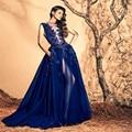 2015 Royal Blue Long Evening Dress Deep V Neck Appliques Side Slit Tulle A Line Floor-Length Robe De Soiree Evening Dresses