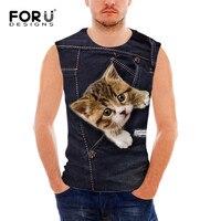 FORUDESIGNS 3D Black Denim Pocket Men S Tank Tops Comfort O Neck Tee Shirts For Male