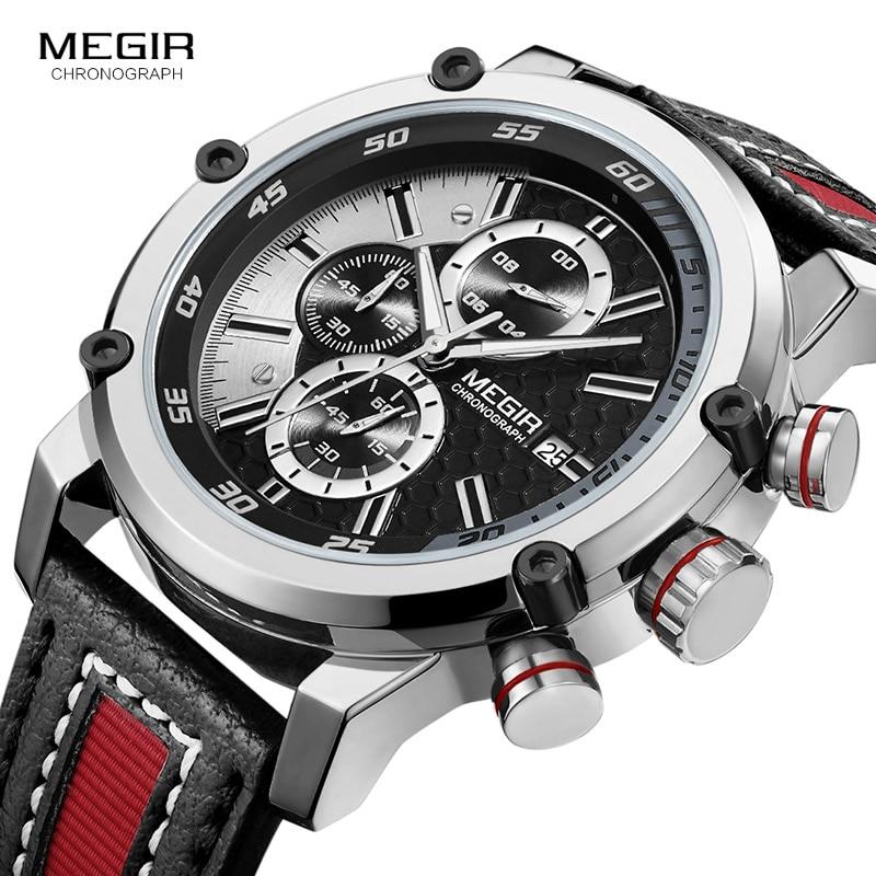 Image 4 - Мужские кварцевые часы MEGIR, водонепроницаемые часы с кожаным ремешком, модные наручные часы с секундомером, светящиеся стрелы 2079GBK 1Спортивные часы   -