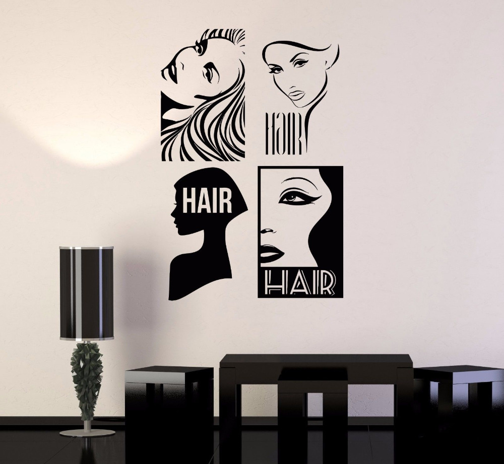 Hair Salon Modern Decor Mural Nontoxic Pvc Material Wall Stickers For Barbershop Barber Hairdresser Removable Wall Decals Zb265 Wall Sticker Stickers Fordecoration Murale Aliexpress