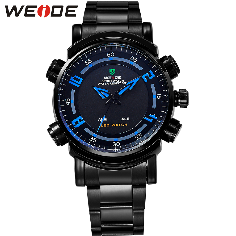 WEIDE 3ATM Waterproof Military Watches Men Quartz Digital Dual Movement Date Alarm LED Luminous Backlight Full Steel Sport Watch weide men sports watches waterproof military quartz digital watch alarm stopwatch dual time zones wristwatch relogios masculinos