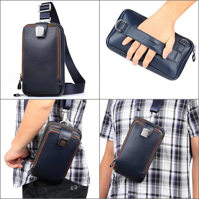 PADIEOE bolsa de ombro crossbody sacos de couro dos homens para homens pacote de peito de couro genuíno saco do mensageiro dos homens de alta qualidade