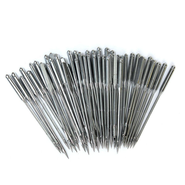 50 ชิ้น/ล็อตเครื่องเย็บผ้าในครัวเรือนขนาด 11/75,12/80,14/90,16/100, 18/110 DIY เย็บเข็มเครื่องมือ игла