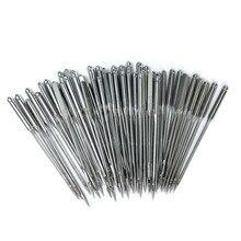 50 unidades/lote de agujas para máquinas de coser, tamaño 11/75,12/80,14/90,16/100,18/110, herramienta de agujas para coser DIY para el hogar