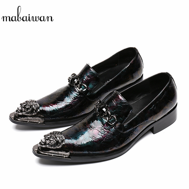 Mabaiwan New Casual Shoes Men Slip-On Leather Loafers Pointed Toe Party Flats Chaussure Slipper Wedding Dress Shoes Men Footwear