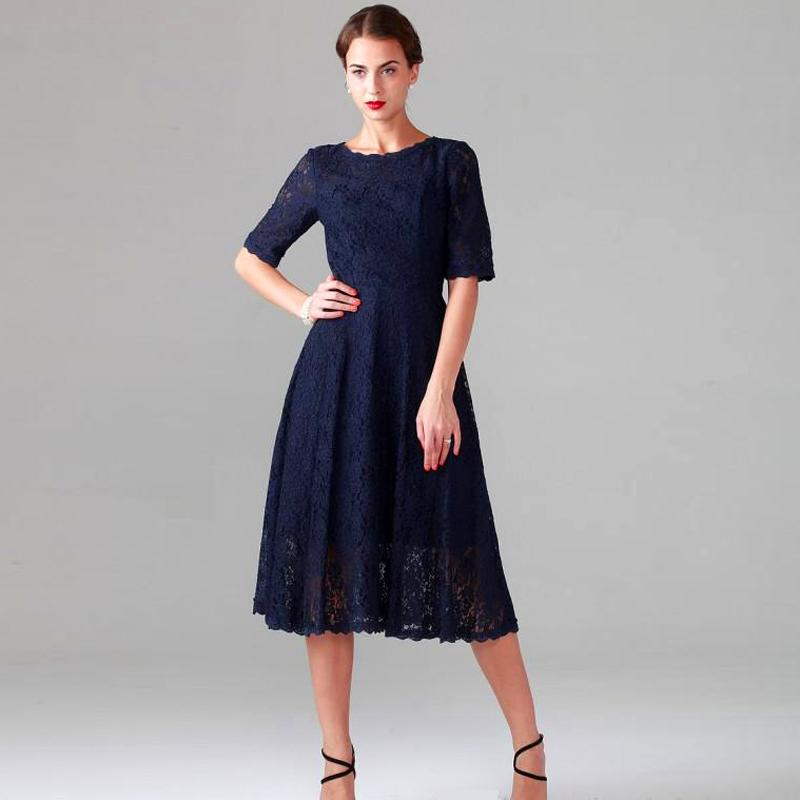 Navy Blue Lace Tea Length Mother Of The Bride Dress 2016