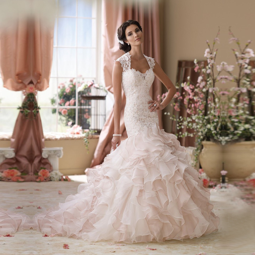 Vestidos De Novia Romantic Lace Wedding Dresses Ruffled Organza ...
