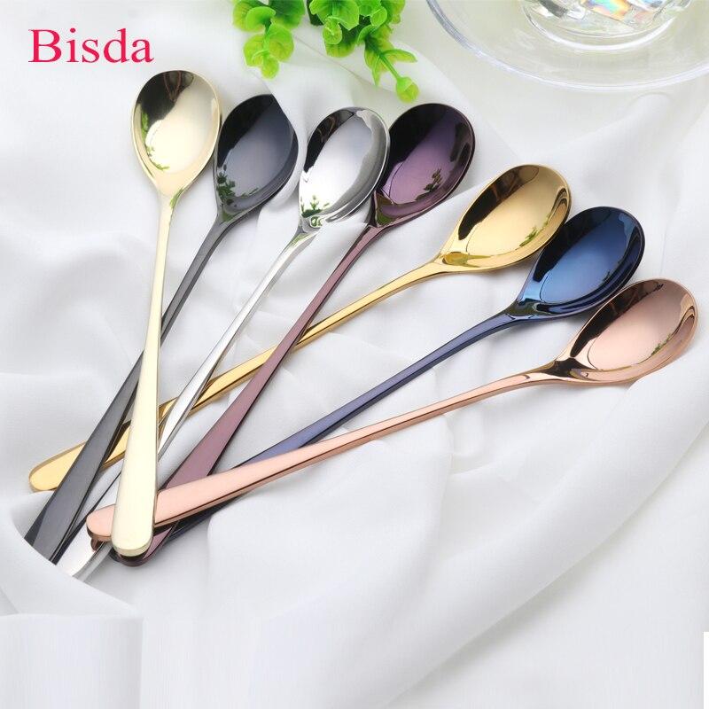 7 piezas 8 ''Acero inoxidable cuchara de mango largo oro rosa café Set 7 colores larga de hielo negro mezcla de color cuchara