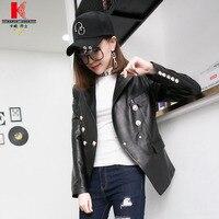 Black Leather Jacket Women Sheepskin Short Thin Quilted Buy Online Windbreaker Fashion Stylish Casual Nice Branded Female Jacket