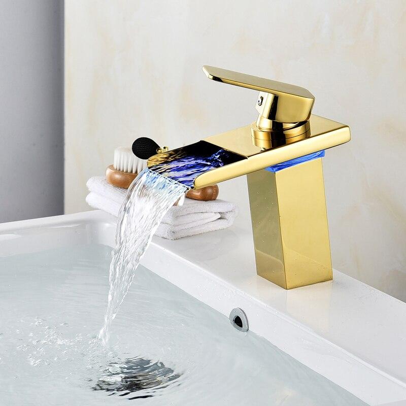 Robinet cascade salle de bain robinet à LED. Robinet de lavabo en laiton cascade doré. Mitigeur de salle de bain mitigeur lavabo monté sur le pont - 2