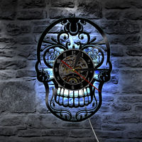 LED Wall Clock Modern Design with 7 Different Colors Change Skull Vinyl Clocks 3D Digital Wall Watch Home Decor Silent 12 inch