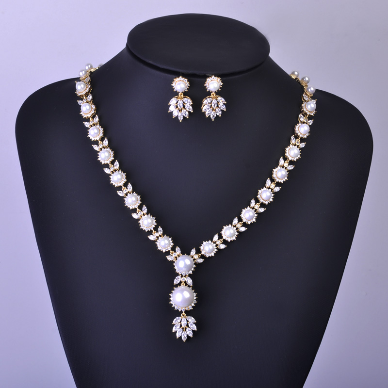 Madrry High Quality Simulated-pearl Jewelry Sets Necklace Earrings Bridal Wedding Schmuck African Beads Zircoina Pendant Brincos