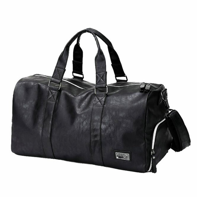 Mens Gym Bag With Compartment For Shoes Women Travel Leather Bag Black PU  Waterproof Bag Camping 110f8d1638356