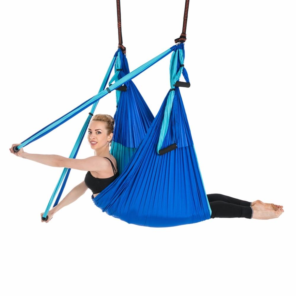 Balançoire de Yoga aérienne hamac volant Anti-gravité 6 poignée de main chaise suspendue Ultra forte fronde pour la forme physique d'inversion antigravité