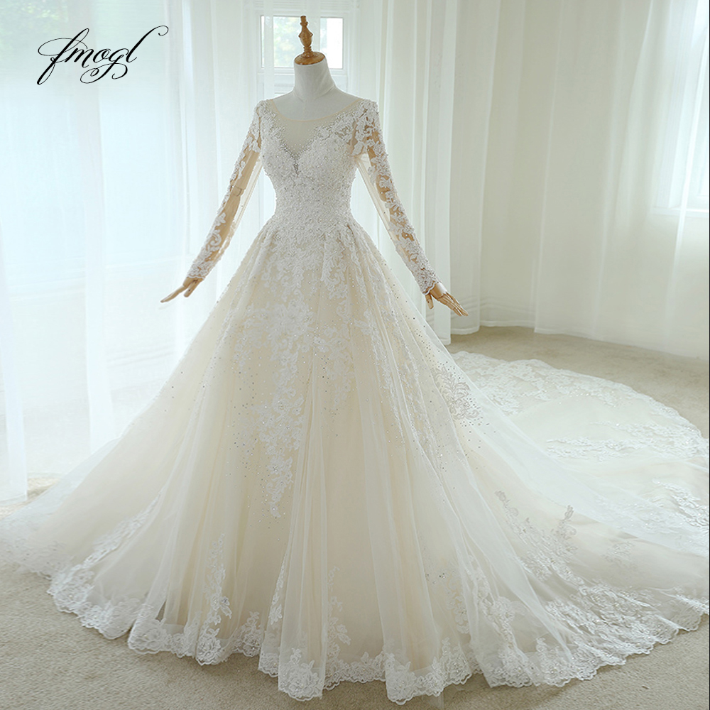 Fmogl Vestido De Noiva Long Sleeve Lace Wedding Dresses 2019 Luxury Scoop Neck Appliques Beaded Vintage A Line Bridal Gown