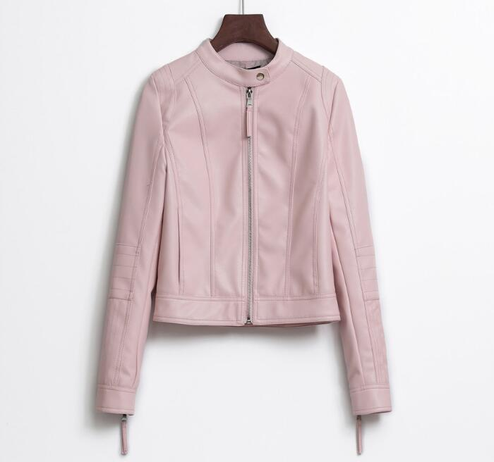 High Quality Jacket 2018 New Buttoned   Leather   Slim Slim Collar Short Washed PU Motorcycle   Leather   Jacket Pink Women's Jacket