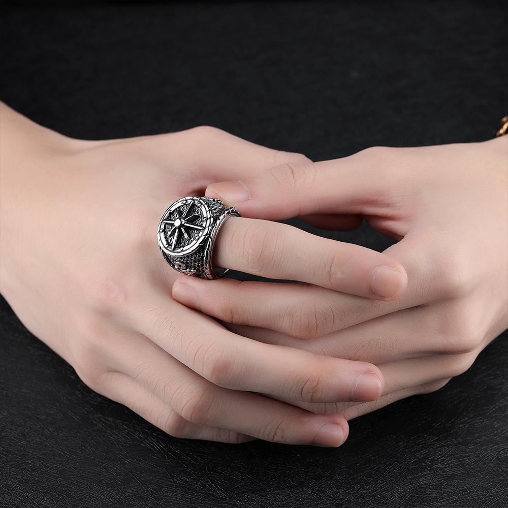 MetJakt Classic Cross Anchor Punk Ring Solid 925 Sterling Silver ...