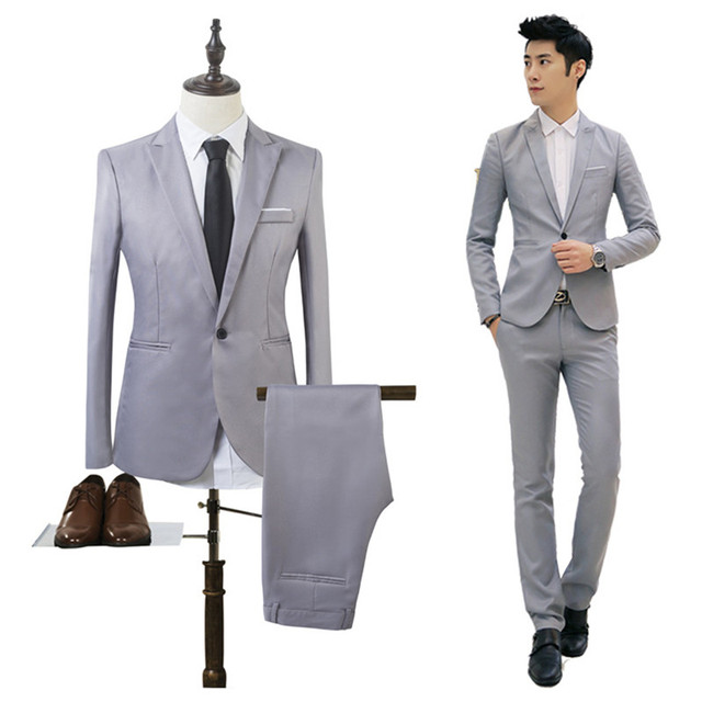 Men Wedding Suit Male Blazers Slim Fit Suits For Men Costume Business Formal Party Formal Work Wear Suits (Jacket+Pants)#292746
