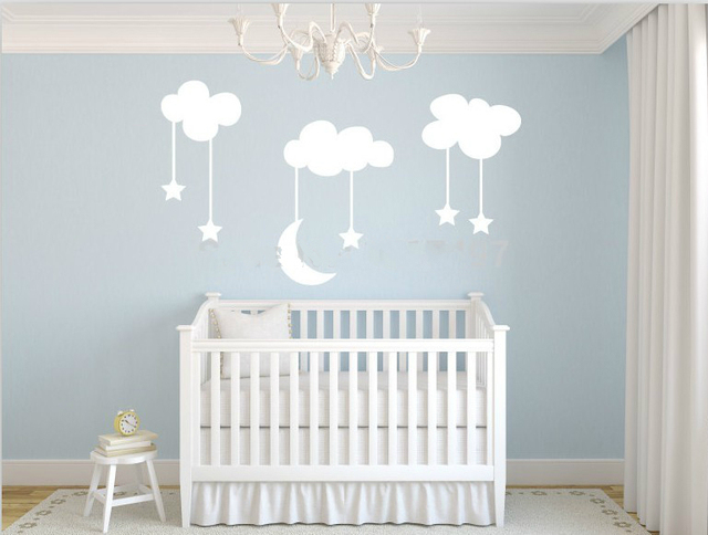 Large Moon With Stars Vinyl Baby Nursery Wall Art Diy Clouds Stickers For Kids Room