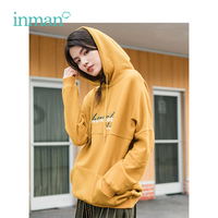 INMAN Winter New Arrival Female Hooded Embroidery Loose Off The Shoulder Sleeve Women Sweatshirt