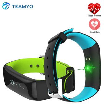 Teamyo P1 Smartband Watches Blood Pressure Watch OLED Heart Rate Fitness Tracker Bracelet Wearable Devices For IOS Android Phone magnetic attraction bluetooth earphone headset waterproof sports 4.2