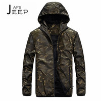 AFS JEEP Autumn Man S Printed Camouflage Hooded Jacket Waterproof Quick Dry Cardigan Military Style Outwear