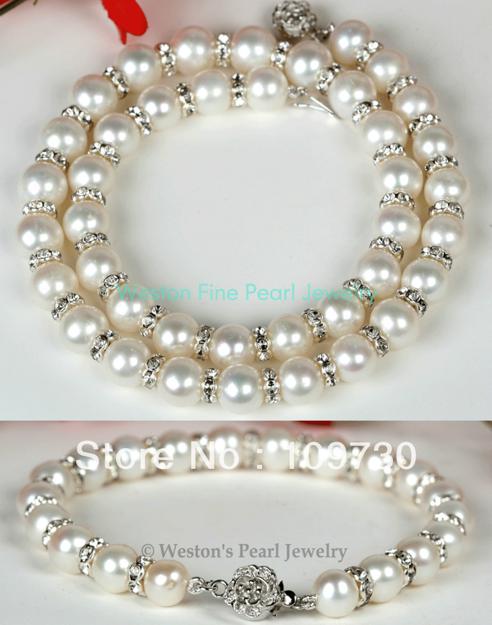 BRACELET de collier de perles d'eau douce de culture fait main blanc naturel