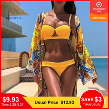 Peachtan Push up bikinis 2019 mujer Strappy swimwear women Yellow swimsuit female Sexy bathing suit Thong two-piece suits new
