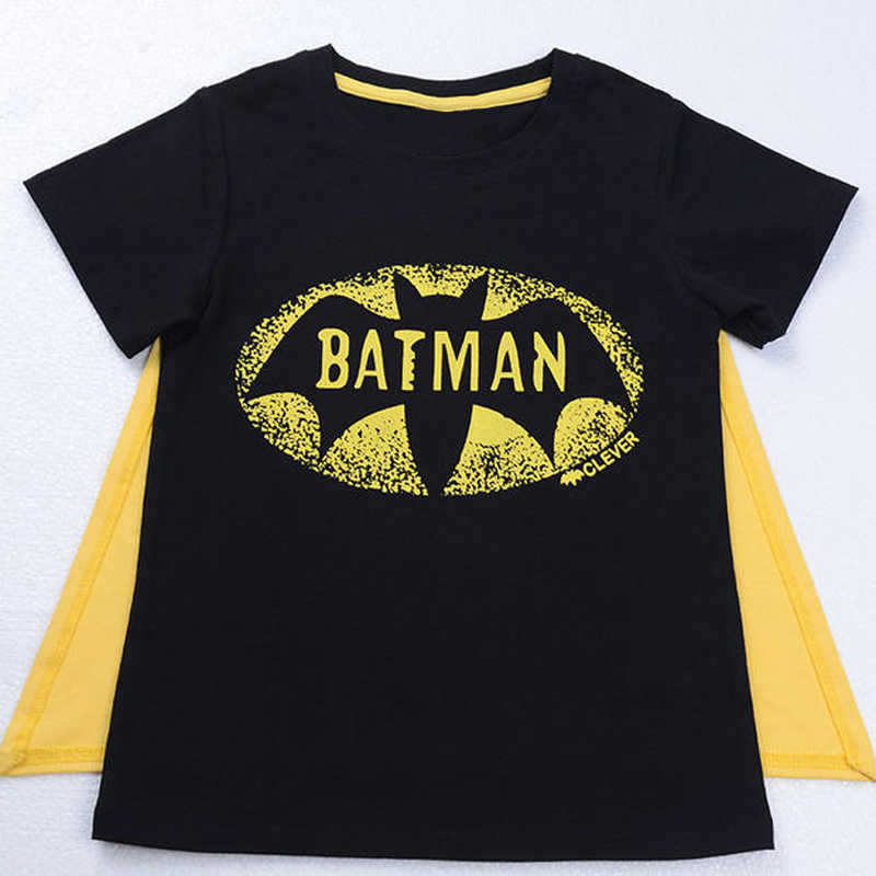 2016 Summer New Batman Superman Boys T-shirt with Cape Casual Cotton Boys Short Sleeves Top DS50