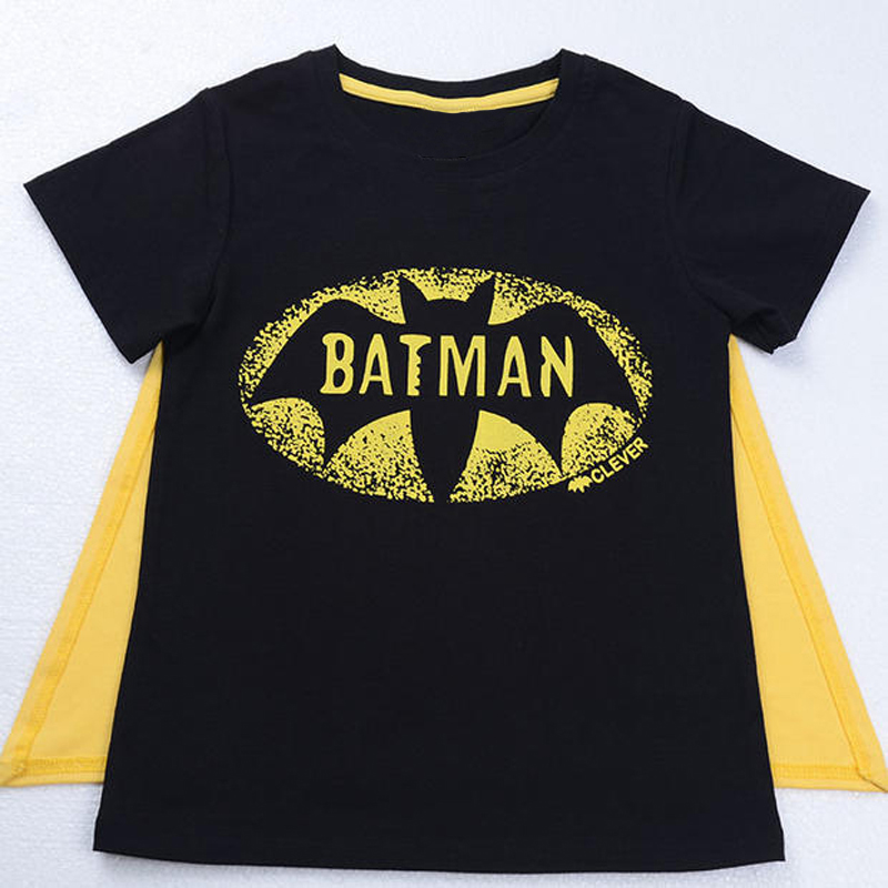 Boys T-Shirt Short-Sleeves Batman Superman Summer Casual Cotton New with Cape Top-Ds50 title=