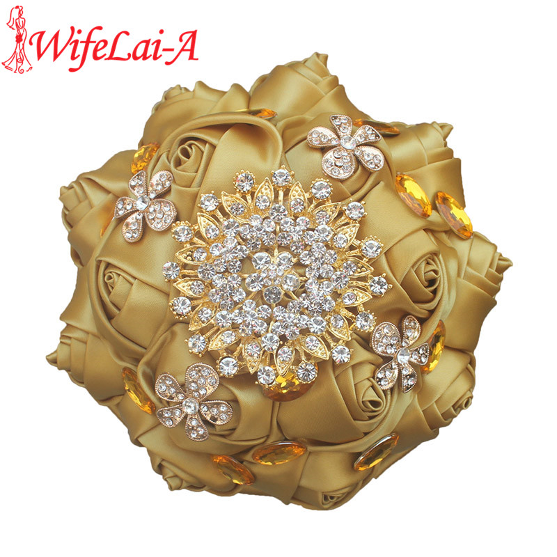 WifeLai-A Pop Golden Rose Gold Brooch Bouquet Satin Silk Ribbon Gold Crystal Bride Wedding Bouquet De Niova  Accept Custom W236G