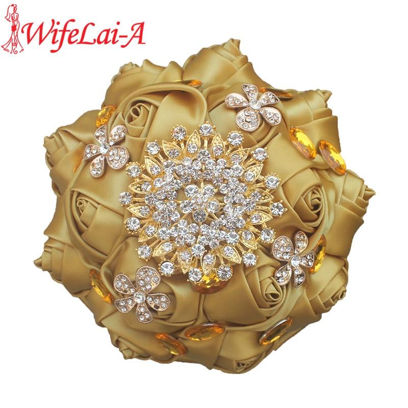 WifeLai-A Pop Golden Rose Gold Brooch Bouquet Satin Silk Ribbon Gold Crystal Bride Wedding Bouquet De Niova  Accept Custom W236G