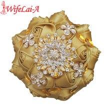 Wifelai um pop ouro rosa broche buquê de cetim fita de seda ouro cristal noiva casamento bouquet de niova aceitar personalizado w236g